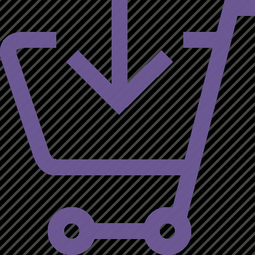cart, down icon