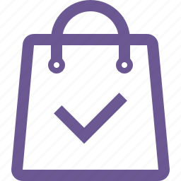 approve, cart, shopping bag, success, tick icon