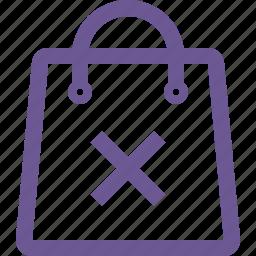 cart, delete, remove, shopping bag icon
