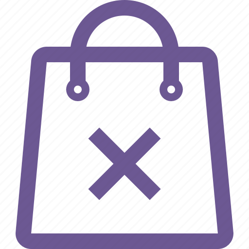 cart, delete, remove, shopping bag icon