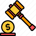 auction, bid, business, coin, finance, hammer, money icon