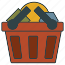 basket, cart, frail, full, shopping icon