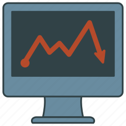 computer, graph, red icon