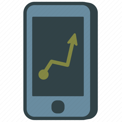 graph, green, smartphone icon