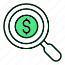magnifying, search, money, currency