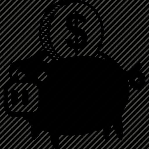 bank, dollar, money, piggy, piggybank, savings icon
