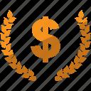 currency, dollar, laurel, lauren, money icon