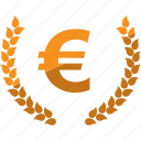 currency, euro, laurel, lauren, money icon