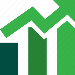 arrow, ascending, bars, graph, stocks, trading, up icon