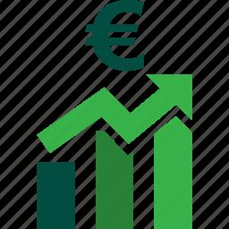 ascending, bars, euro, graph, stocks, trading, up icon