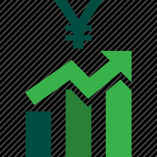 ascending, bars, graph, stocks, trading, up, yen icon