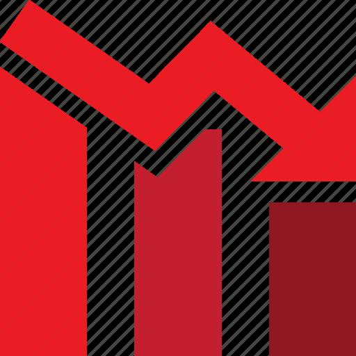 arrow, bars, descending, down, graph, stocks, trading icon