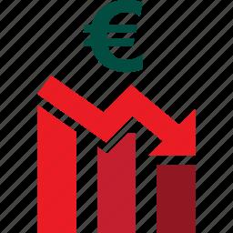 bars, descending, down, euro, graph, stocks, trading icon