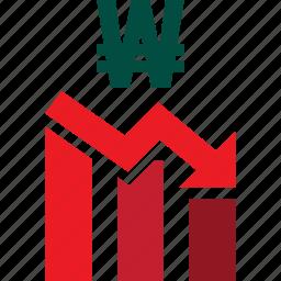 bars, descending, down, graph, stocks, trading, won icon