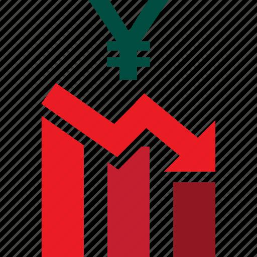 bars, descending, down, graph, stocks, trading, yen icon