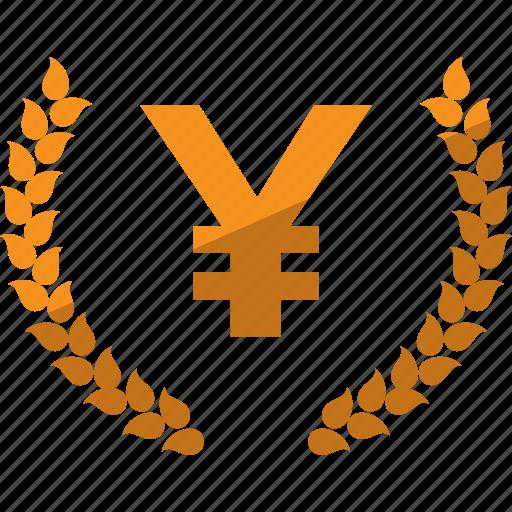 currency, laurel, lauren, money, yen icon