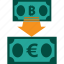 bitcoin to euro, conversion, currency, exchange, money, rate icon