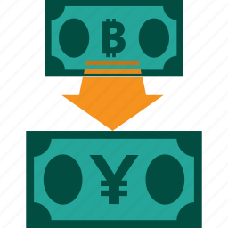 bitcoin to yen, conversion, currency, exchange, money, rate icon