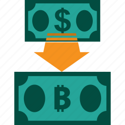 conversion, currency, dollar to bitcoin, exchange, money, rate icon