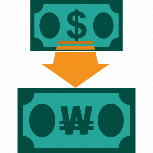 conversion, currency, dollar to won, exchange, money, rate icon