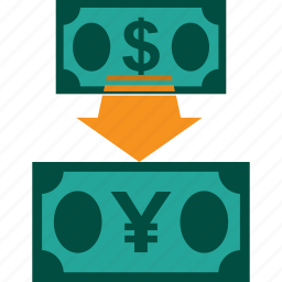conversion, currency, dollar to yen, exchange, money, rate icon