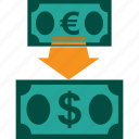 conversion, currency, euro to dollar, exchange, money, rate icon