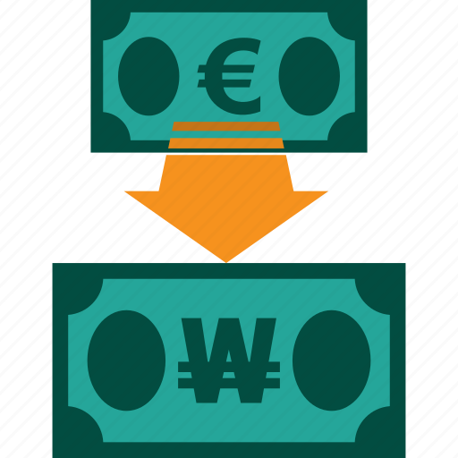 conversion, currency, euro to won, exchange, money, rate icon