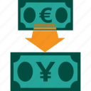 conversion, currency, euro to yen, exchange, money, rate icon