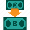conversion, currency, exchange, money, pound to bitcoin, rate
