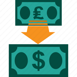 conversion, currency, exchange, money, pound to dollar, rate icon