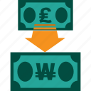 conversion, currency, exchange, money, pound to won, rate icon
