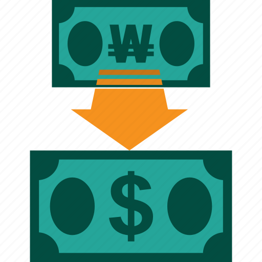 conversion, currency, exchange, money, rate, won to dollar icon