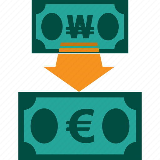 conversion, currency, exchange, money, rate, won to euro icon