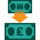 conversion, currency, exchange, money, rate, won to pound icon