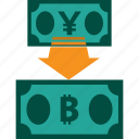 conversion, currency, exchange, money, rate, yen to bitcoin icon