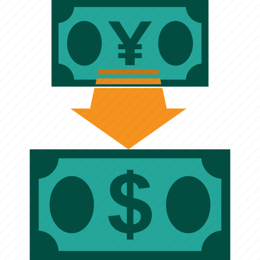 conversion, currency, exchange, money, rate, yen to dollar icon