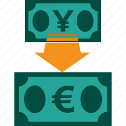 conversion, currency, exchange, money, rate, yen to euro icon