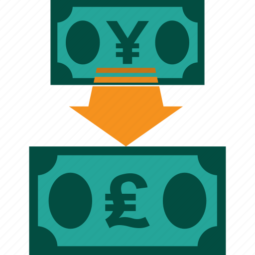 conversion, currency, exchange, money, rate, yen to pound icon