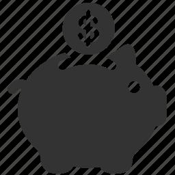 bank, economizing, finance, money, piggy, piggy bank, savings icon