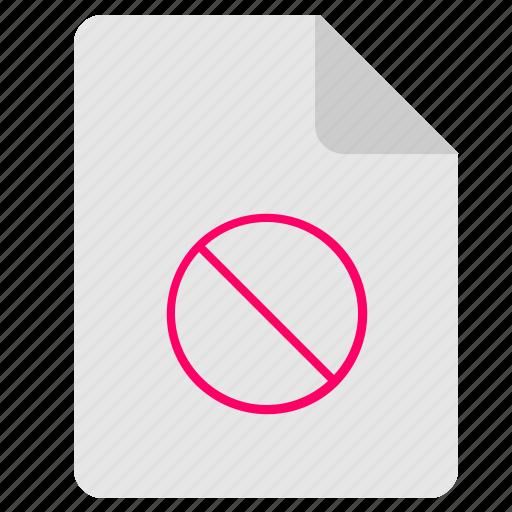 cancel, doc, document, file, stop icon