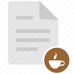 coffee, cup, doc, document, drink, file, pause icon