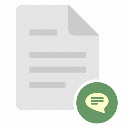 comment, dialog, doc, document, file icon