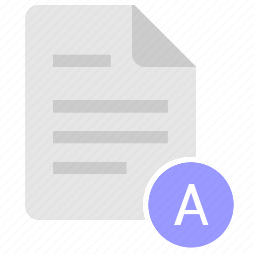 a, doc, document, file, glossary, letter icon