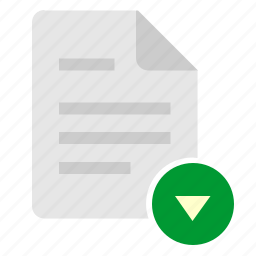 bottom, doc, document, down, file, navigation icon