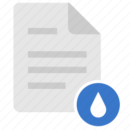 doc, document, drop, file, water icon
