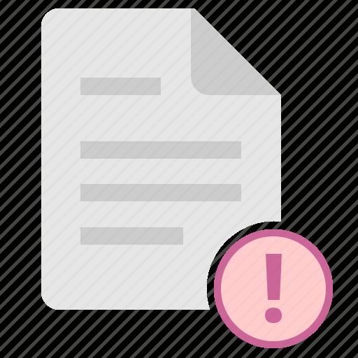 attention, danger, doc, document, error, file icon