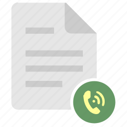 call, dial, doc, file, list, listing, phone icon