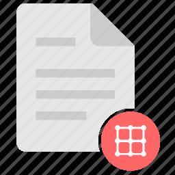 coordinates, doc, document, file, grid, matrix icon