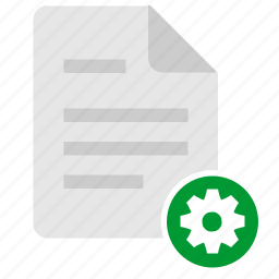 configuration, detail, doc, document, file, gear icon