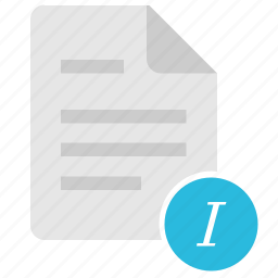doc, document, file, format, italic, text icon